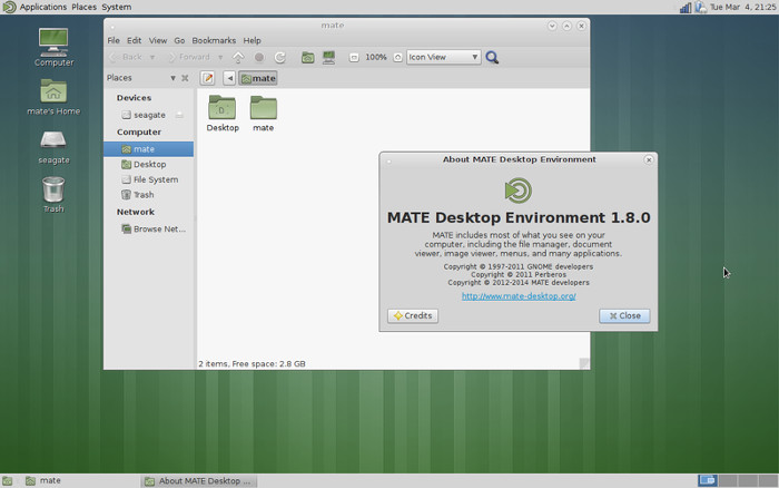 Mate desktop environment.