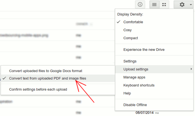 google-drive-convert-text-settings