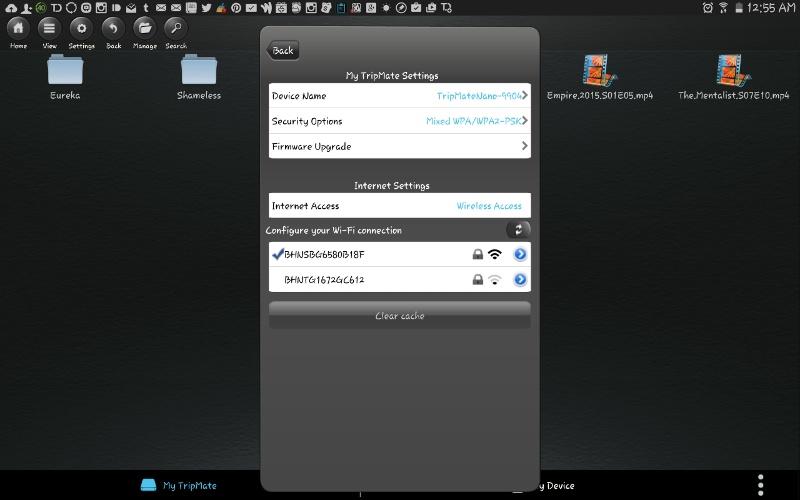 The TripMate Nano mobile app settings.