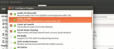 Exit Rhythmbox When You Click Close in Ubuntu