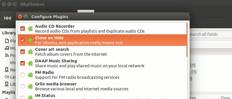 Exit Rhythmbox When You Click Close in Ubuntu - Make Tech Easier