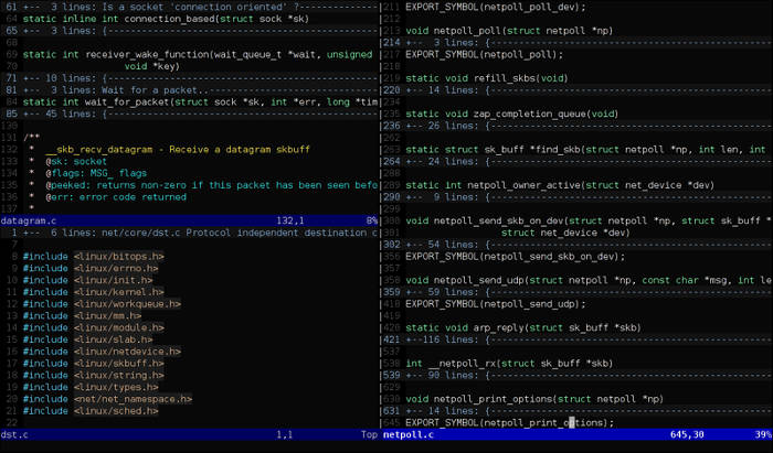 Vim text editor for Linux.