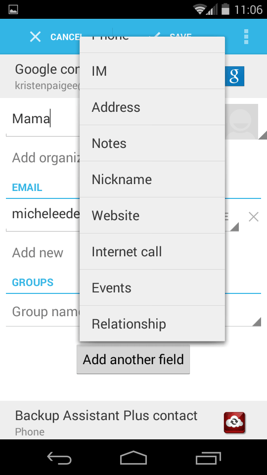 Add a contact specific special event.