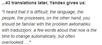 Opening line via Bad Translator.