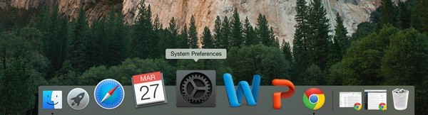 OS X Dock - System Preferences selected.