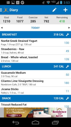 MyFitnessPal Android app.