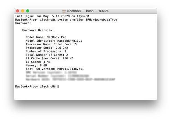 Where to obtain your Mac's Model Identifier via Terminal.