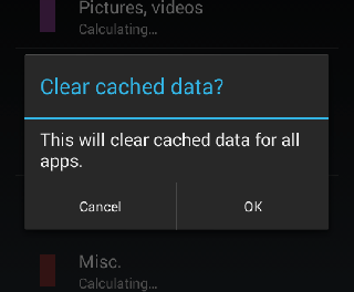 Clear cache on Android.
