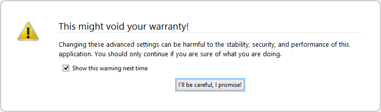 Accept the warning prompt.