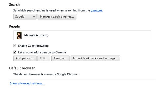 Advanced browser settings for Google Chrome.
