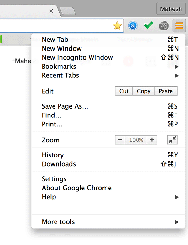 Click on menu in the top-right corner.