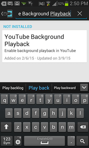 Search for and tap on 'YouTube Background Playback.'