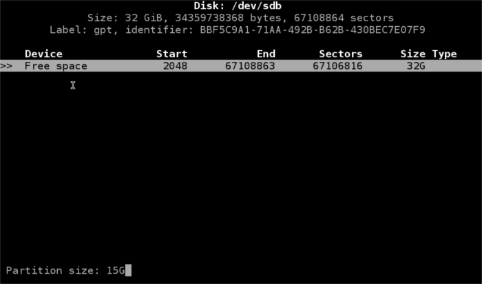 cfdisk-create-root-partition