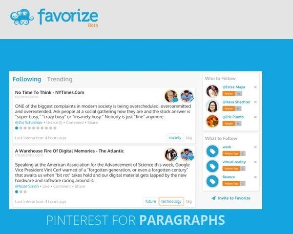 Favorize is perfect for people who love reading and sharing thought-provoking quotes.