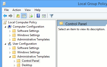 The Control Panel folder.