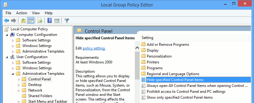 Double click on 'Hide specific control panel items.'