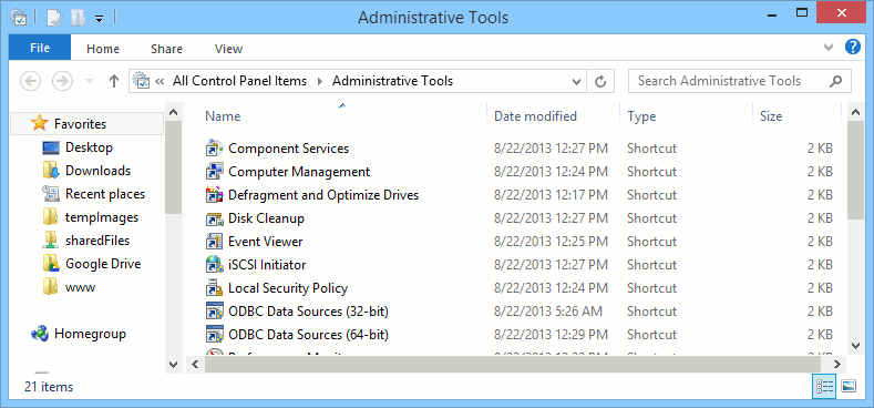 The Windows Administrative Tools window.