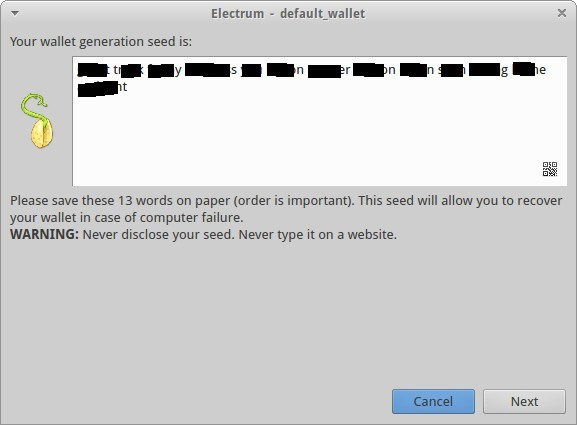 A seed is generated for your wallet.