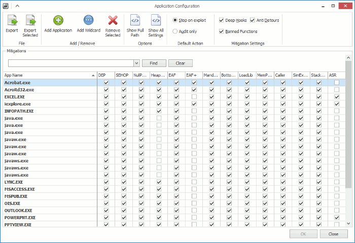 You can enable and disable each mitigation policy individually for each app.