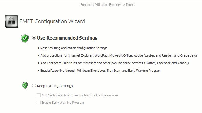 Select the option 'Use Recommended Settings.'