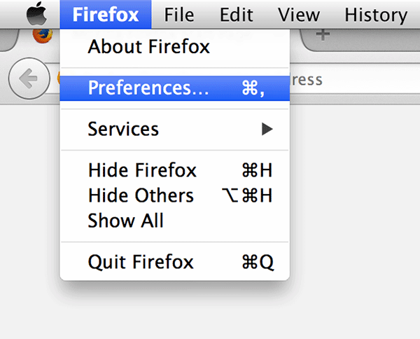 Click on 'Firefox' in the top-left corner followed by 'Preferences....'