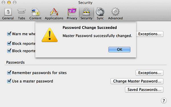 Master Password set up confirmation message.