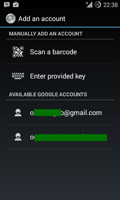 Open the Google Authenticator app and enter the secret key generated.