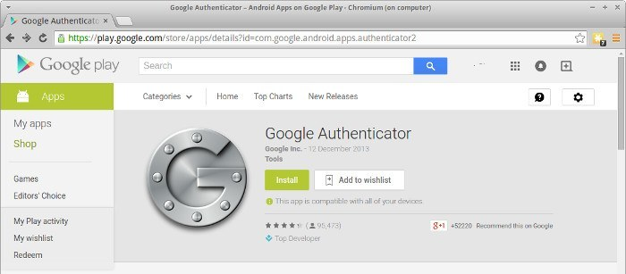 Install 'Google Authenticator' on your android device.