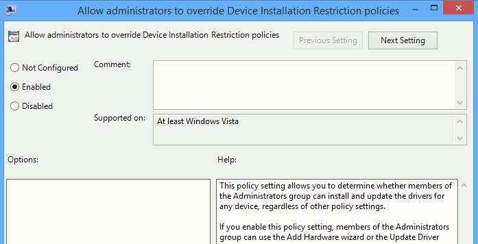 Open the respective policy settings window.