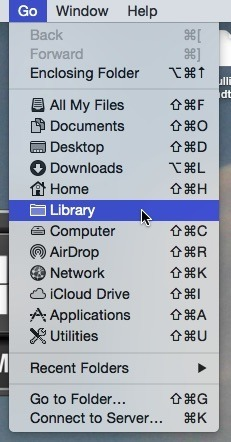 Use option key to go to Library in OS X.