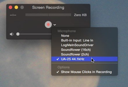 Screen recording for tutorials in OS X.