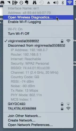 Use Option key for advanced wireless info in OS X.