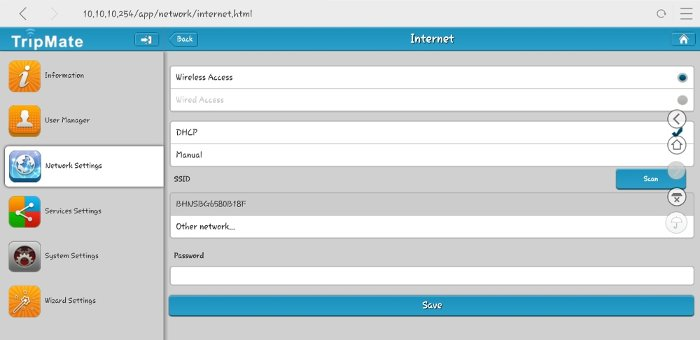 Configure your home SSID for TripMate.