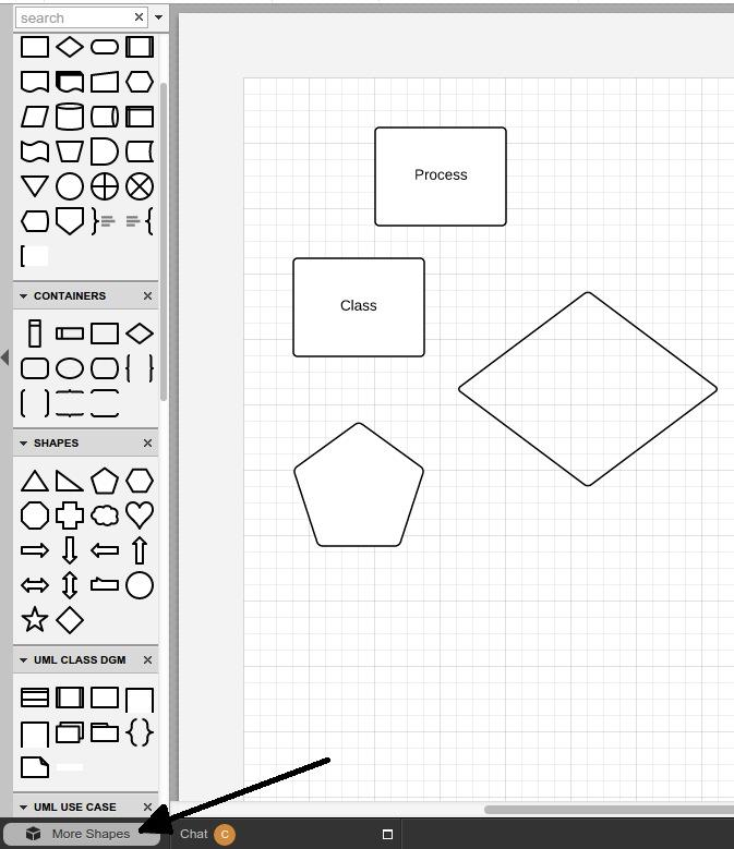 Drag-and-drop shapes and containers to document.