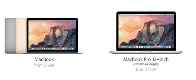 12-inch Macbook versus MacBook Pro 2015: Pricing