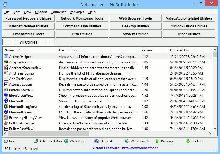 The NirLauncher for NirSoft Utilities.