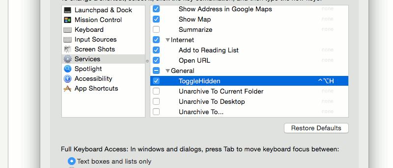 Easily Add a Keyboard Shortcut to Reveal Hidden Files in Mac