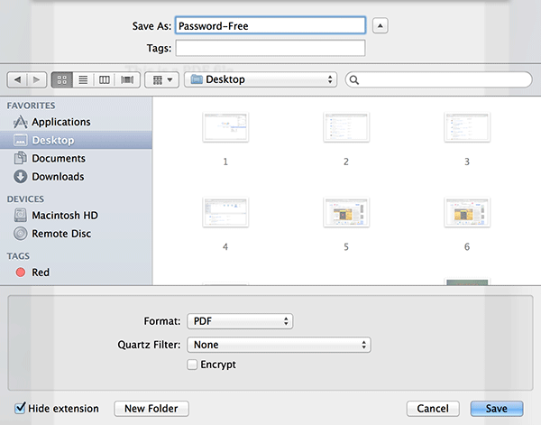 The option that removes the password from the PDF file is 'Encrypt.'