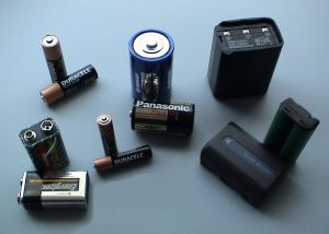 Various types of batteries.