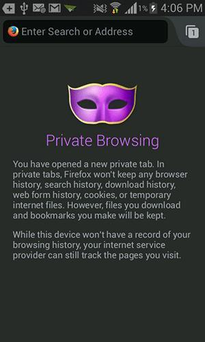 About private browsing in Firefox.