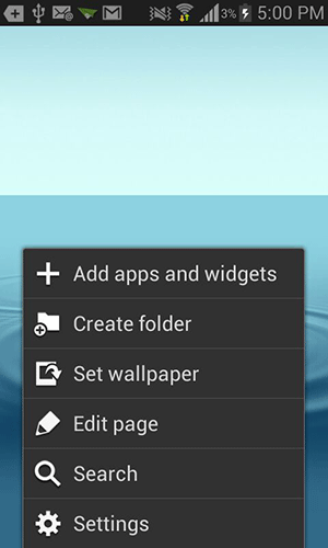 Press the Menu button and select 'Add apps and widgets.'