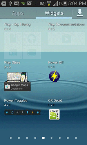 Find the 'Power Toggles' widget.