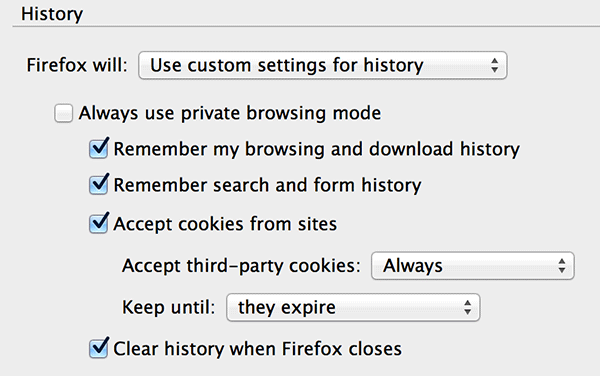 Select 'Clear history when Firefox closes.'