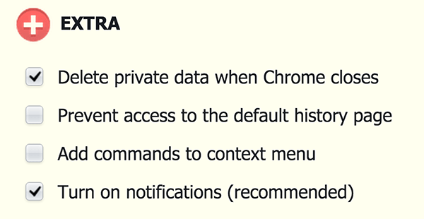 Select the 'Delete private data when Chrome closes' option.