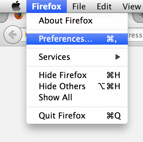 Go to the Firefox Preferences panel.