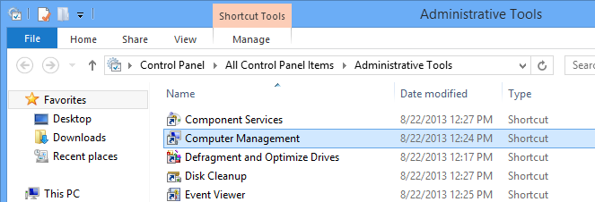 Rename using the Computer Management utility.