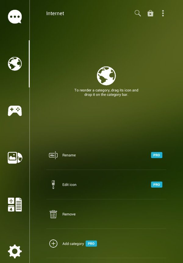 Customize categories in Smart Launcher.
