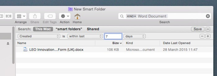 A folder that only contains word documents created in the last week.