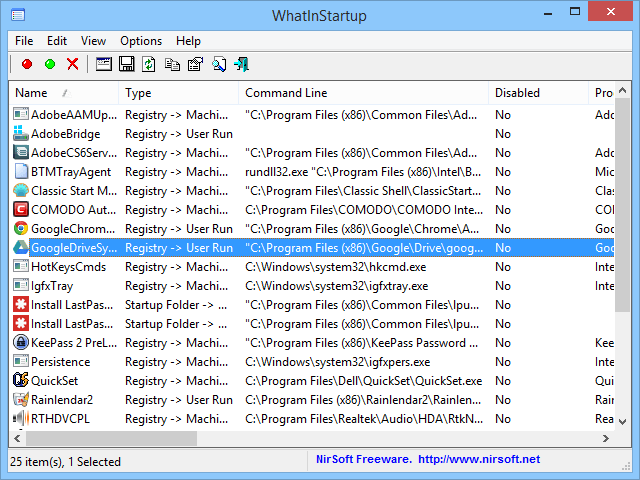 WhatInStartup - Disable/delete Windows startup programs.
