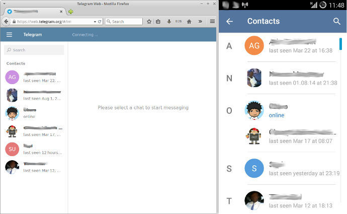 Telegram contacts list.